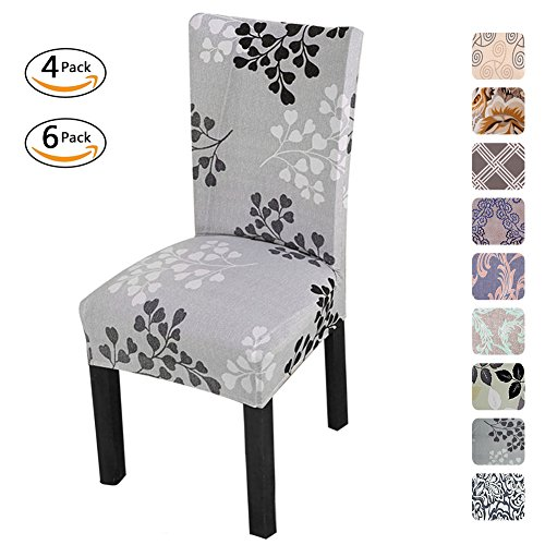 Fuloon Universal Stretch Short Removable Dining Chair Seat Covers Slipcovers Wedding Party (6 Per Set, A)