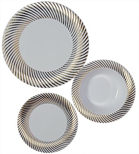 Party Joy 75-Piece Plastic Dinnerware Set | Swirl Collection | (25) Dinner Plates, (25) Salad Plates  & (25) Bowls| Heavy Duty Premium Plastic Plates for Wedding, Parties, Camping & More (Gold Swirl) - Swirl Salad Plate Set
