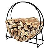 Goplus Firewood Log Rack Hoop Tubular Steel Wood Storage Holder for Indoor & Outdoor (40 Inch)