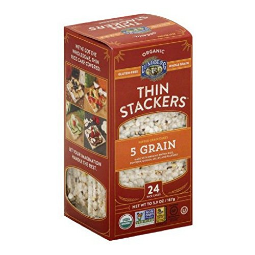 Lundberg Organic Thin Stackers 5 Grain Puffed Grain Cakes, 5.9 oz, (Pack of 12) by Lundberg