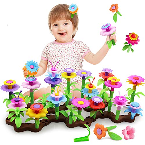 pozzolanas Flower Building Toys Garden Stacking Block,Build a Bouquet Floral Arrangement Playset for Toddlers,104 pcs STEM Preschool Educational Creative Pretend Toys as Boys Girls Birthday Gifts