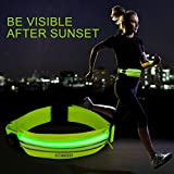 Enkeeo LED Running Belt Waist Pack USB Rechargeable Sweat and Water Resistant Reflective Waist Fanny Pack Belt Fit for iPhone 6 6S 6 Plus 6S Plus Samsung Galaxy S5 S6 S7 (Zippered Pocket, Neon Yellow)