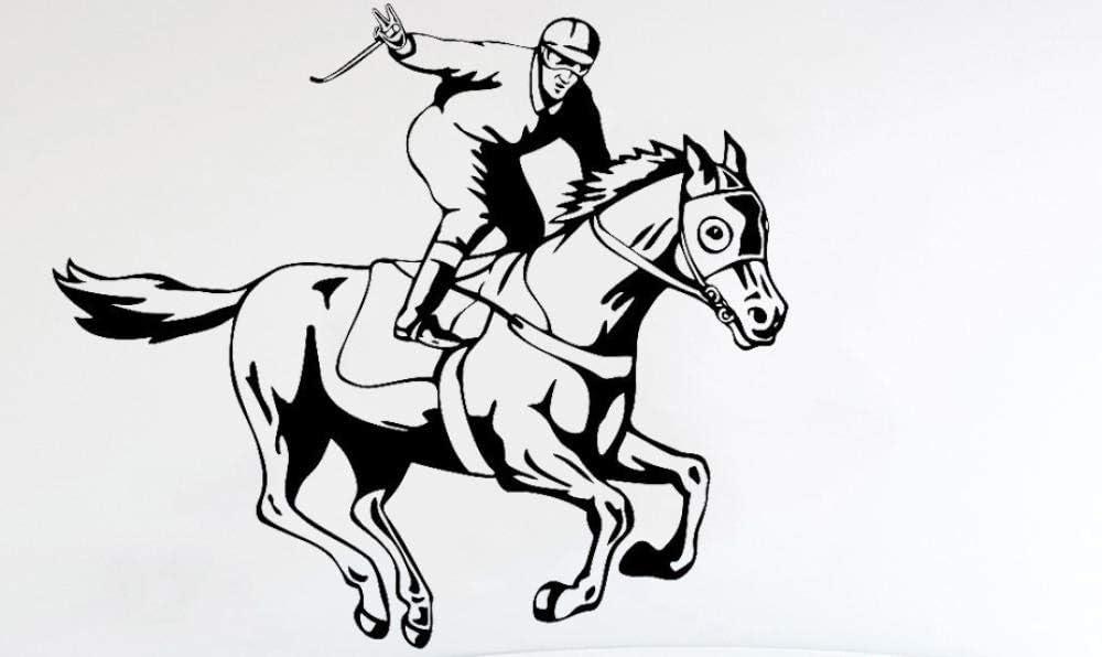 Axlgw Calcomanías De Pared De Jinete Caballo Sala De Juegos Para Niños Jockey Deportes Vinilo Pegatinas De Pared Decoración Del Hogar Sala De Estar Gimnasio Tamaño 30X28Cm