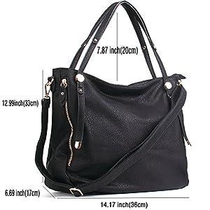 WISHESGEM Women Handbags Tote Shoulder Bags Satchel Zipper PU Leather Cross Body Bags A-Black