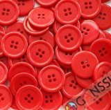 the red button - GANSSIA 1'' (25mm) Sewing Flatback Buttons Red Color Pack of 50