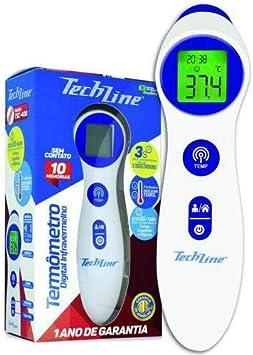 Termometro Digital Infravermelho Techline TSC-400 Branco e Azul com Display Retroiluminado