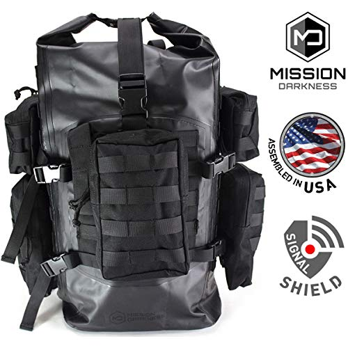 (Mission Darkness Dry Shield Faraday Backpack 40L. Waterproof Tactical Backpack w/MOLLE Webbing & Packs/Signal Blocking/Anti-Tracking/EMP Shield/Data Privacy for Phones, Tablets, Laptops,)