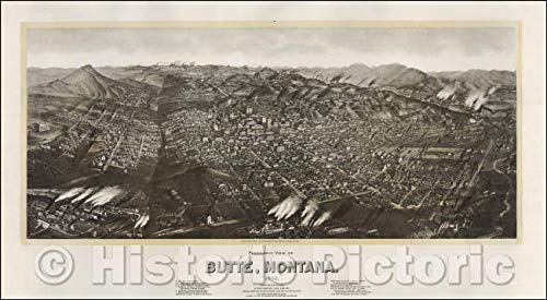 Historic Map | Panoramic View of Butte, Montana, 1904, Henry Wellge | Vintage Wall Art 24in x 13in