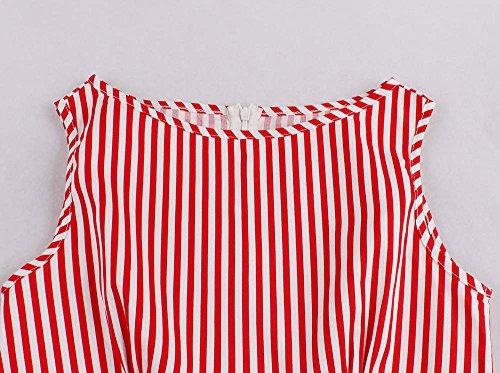 0c37714d9a4f ... Bestfort Vintage Kleider Damen 50er Retro Mode Rundhals Cocktailkleider  Knielang Ärmellos Festliche Rockabilly Kleid Gestreiftes Rot ...