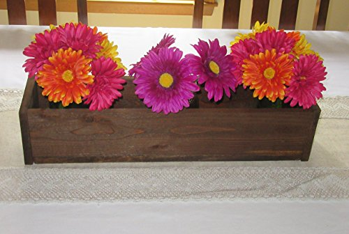 Cheap Stained Wood Planter Box • Mason Jar Centerpiece, Long wood box, Candle Holder, Wedding Centerpiece • 18 inches long