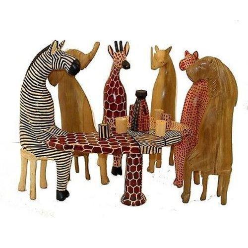 Animal Figures Handcrafted Wooden Giraffe Zebra African Wild Statue Tabletop Decor Wild Safari Figurines Elephant Decorative Accents (Statue Zebra Decor Home)
