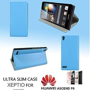 Funda para Huawei Ascend P6 piel, Ultra Slim-Funda tipo libro con función atril para Huawei Ascend P6, color azul-XEPTIO case!