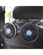 YOMERA Wentylator samochodowy 12 V, wentylator samochodowy z wentylatorem chłodzącym z samochodem, do gniazda zapalniczki samochodowej, ręczny obrót o 360 stopni, bezstopniowa prędkość, podwójny wentylator do samochodu, SUV-ów, łodzi, na kemping