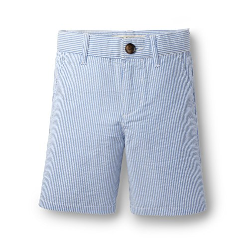 Hope & Henry Boys Blue Seersucker Short Made With Organic (Blue Seersucker)