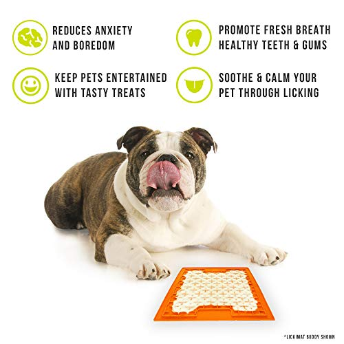 Hyper Pet LickiMat Slow Feeder Dog Mat for Food and Treats (Fun Alternative to Slow Feeder Dog Bowls -- Boredom Buster and Calming Companion for Dogs and Cats,) Green, Orange
