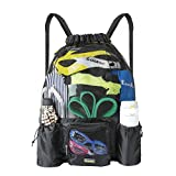 EocuSun Large Mesh Swimming Bag, Beach Drawstring Backpack, Mesh Mummy Backpack Beach Sports Gear Swim PE Gym Equipment Bag Sackpack Backpack Men Women Boys Girls Kids
