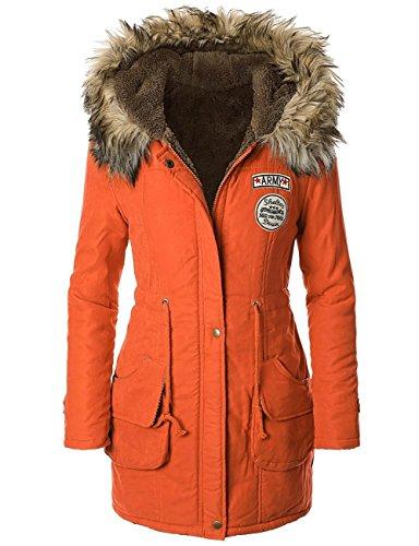 capuche Chaud fourrure avec Panda Militaire bordure Manteau Orange fausse Cos en Parka Femme Hiver xww80ta7