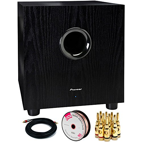 Pioneer 100-Watt Powered Subwoofer (SW-8MK2) with 15FT Coaxial Audio/Video RCA CL2 Rated Cable 75ohm, Series 16 AWG Speaker Wire 100ft & Brass Speaker Banana Plugs 5-Pair (15 Sub Pioneer)