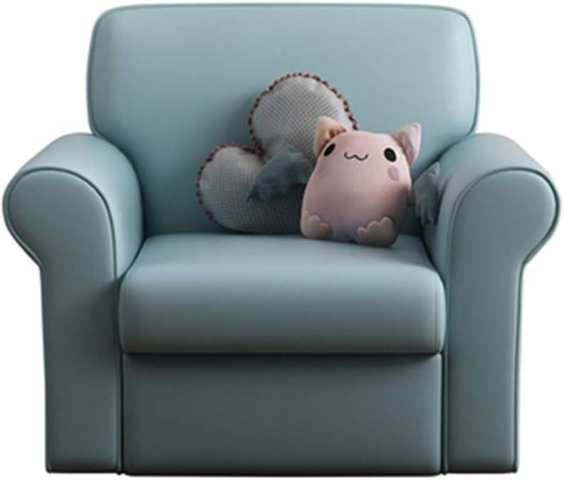 シンプルなファッション シンプルでスタイリッシュな子供のソファチェア単一の小さなソファ読書椅子少年少女のベッドルームのソファ (色 : 青, サイズ : 54x56cm)