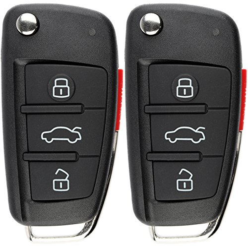 KeylessOption Keyless Entry Remote Control Car Uncut Ignition Key Fob Replacement for Audi MYT-4073A (Pack of 2)