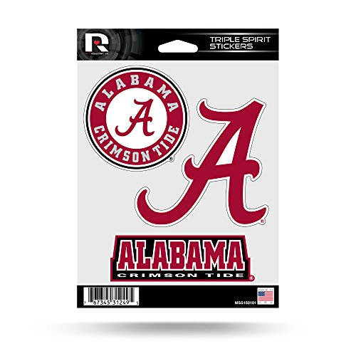 Rico Industries NCAA Alabama Crimson Tide Die Cut 3-Piece Triple Spirit Sticker Sheet (Crimson Ncaa University Tide Alabama)