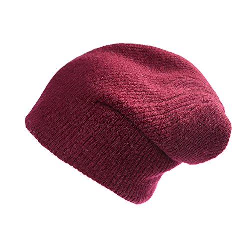 (RIONA Women's Soild 100% Australian Merino Wool Knit Beanie Hat Warm Skull Caps Headwear(Wine))