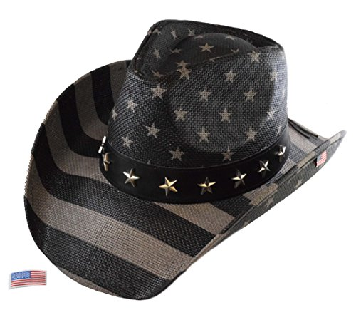 Saddleback Hats Bundle Authentic Vintage USA American Flag Cowboy Hat w/Shapeable Brim and Embroidered Iron On Flag Patch (Subdued ()