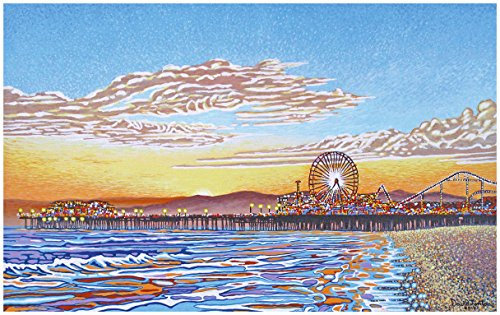 Santa Monica Pier Travel Art Print Poster by David Linton (24