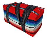 Serape Style Carry On Shoulder Tote Duffel Bag Hand Woven Mexican Serape Design (Red) Review