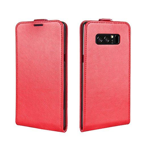 Para Samsung Galaxy Note 8 Caso compacto de piel PU, arriba-abajo piel abierta PU Funda de piel con ranura para tarjeta y función de protección completa con cierre magnético Caja a prueba de golpes po rojo