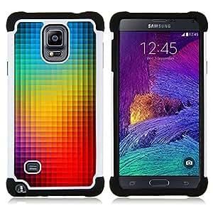 """Pulsar ( Modelo del arco iris azul vibrante"""" ) Samsung Galaxy Note 4 IV / SM-N910 SM-N910 híbrida Heavy Duty Impact pesado deber de protección a los choques caso Carcasa de parachoques [Ne"""