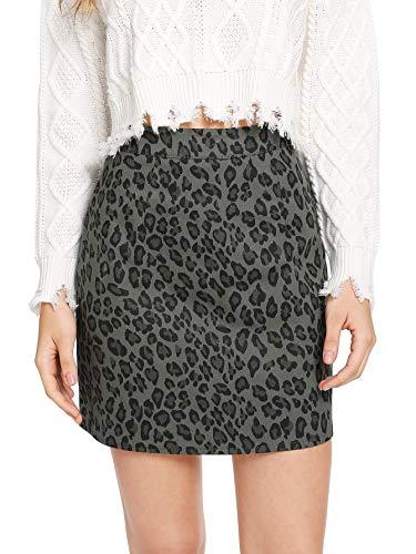 Verdusa Women's Leopard Print Denim A-Line Short Pencil Skirt Grey L