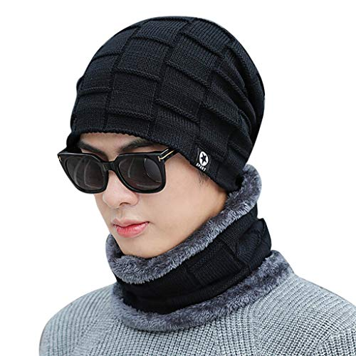Baby Pin 0.625 (Vovomay Adult Women Men Winter Earmuffs Knit Hat -Solid Color Scarf Warm Cap (Black))