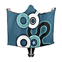 Jnseff Hooded Blanket Pattern Abstract Circle Star Blanket 60x50 Inch Comfotable Hooded Throw Wrap