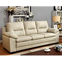 Furniture of America Stewart Leatherette Sofa, Ivory