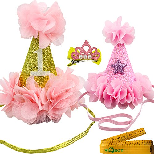 Wiz BBQT 2 Pcs Adorable Cute Cat Dog Pet Birthday Hair Head Bands Accessories and a Crown Shaped Hair Clip for Kitten…