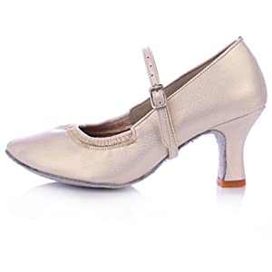 Lady modern dance shoes/ women's ballroom dancing shoes/Leather soft bottom dancing shoes-D Foot length=22.3CM(8.8Inch)
