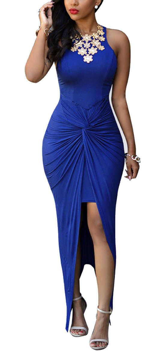 Oops Style Women's Knotted Front Slit Cocktail Dress Blue X-Large Blue