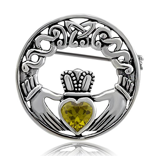 WithLoveSilver Sterling Silver 925 Charm Claddagh Celtic Iris Friendship Simulated Yellow Cubic Zirconia Brooch Pin