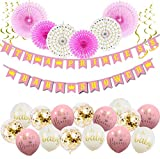 It's A Princess Baby Shower Decorations for Girl - 55 Piece Girl's Baby Shower Decorations Pink/White/Gold/Rose Gold. Premium Quality, 100% Unique, 2018.