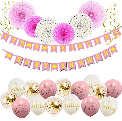 It's A Princess Baby Shower Decorations for Girl - 55 Piece Girl's Baby Shower Decorations Pink/White/Gold/Rose Gold. Premium Quality, 100% Unique, 2018. -