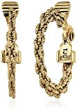 Anne Klein Women's Gold Tone Cable Hoop Clip On Earrings