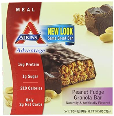 Atkins Advantage Bars, Peanut Fudge Granola, 1.7-Ounce Bars (Pack of 10)