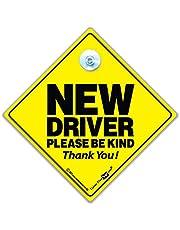 iwantthatsign.com Nowy kierowca, nowy znak samochodowy 'Driver Please Be Kind' super jasna przyssawka znak samochodowy o wysokiej widoczności w kolorze żółtym i czarnym dla nowych kierowców