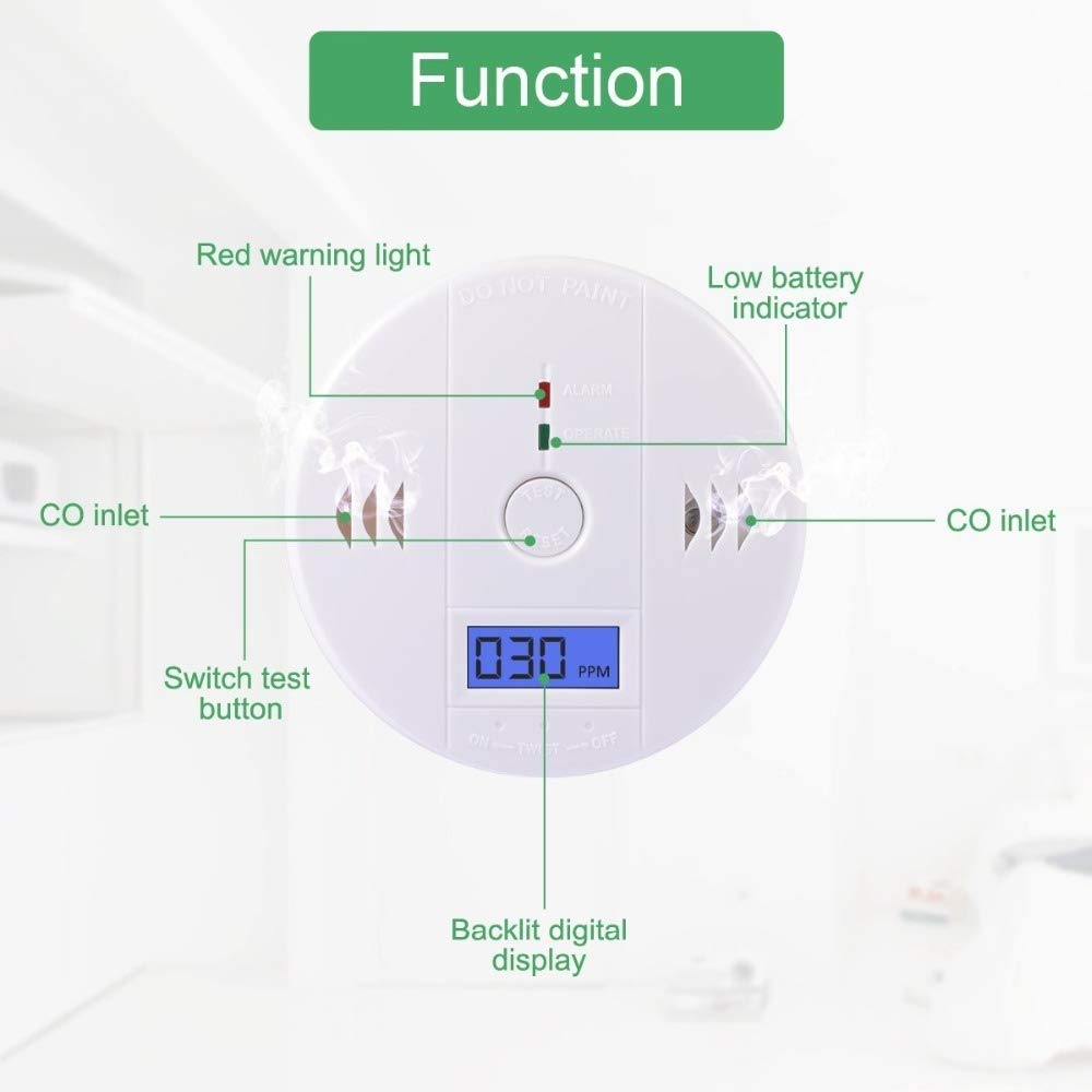 4-Pack CO Detector Carbon Monoxide Gas Detection,Alarm LCD Portable Security Gas Monitor,Battery Powered,Alarm Clock Warning 3 AA Battery not Included