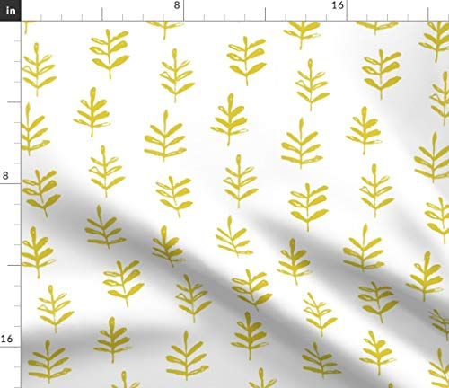 (Spoonflower Leaves Fabric - Sprigs Citron White Botanical Yellow Mustard Trees A384 Print on Fabric by The Yard - Basketweave Cotton Canvas for Upholstery Home Decor Bottomweight Apparel)