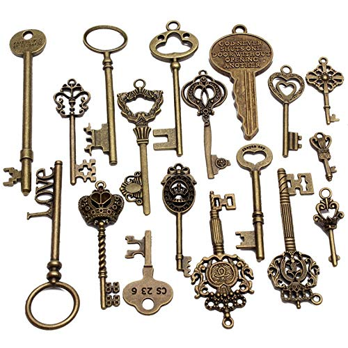 (Set Of Keys - Est Set Of 18 Antique Vintage Old Look Skeleton Key Pendant Heart Bow Lock Steampunk Necklace Diy - Glasses Throw Finger Nails Polish Beautiful Bags Human Cream Picture Quee)
