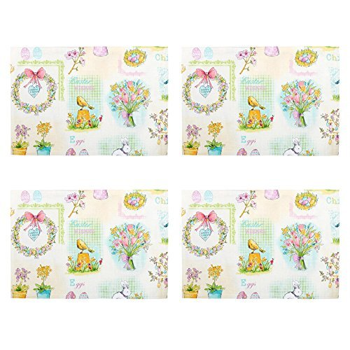 Set of 4 Happy Easter Wishes Fabric Print Placemats 13 x 19