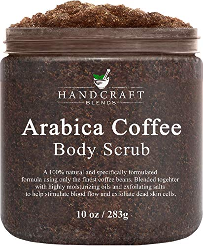 Handcraft Arabica Coffee Body Scrub - All Natural with Organic Ingredients - for Stretch Marks, Acne, Anti Cellulite and Spider Veins 10 oz (Best Coffee Scrub For Cellulite)