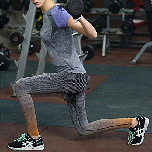 HARRYSTORE Mujer pantalones elásticos de yoga Gradiente de color yoga pantalones especiales leggings deportivos y apretados fitness Naranja